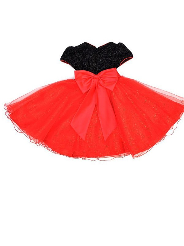 Discount A-line Scoop Short Sleeves Bowknot Tea-length Organza Flower Girl Dress