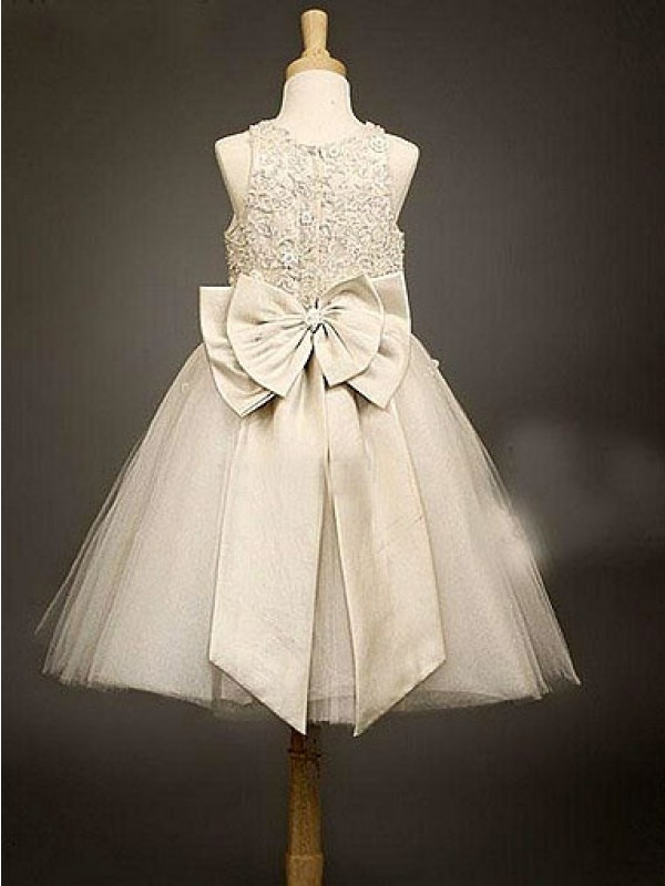 Stylish A-line Scoop Sleeveless Bowknot Tea-Length Organza Flower Girl Dress