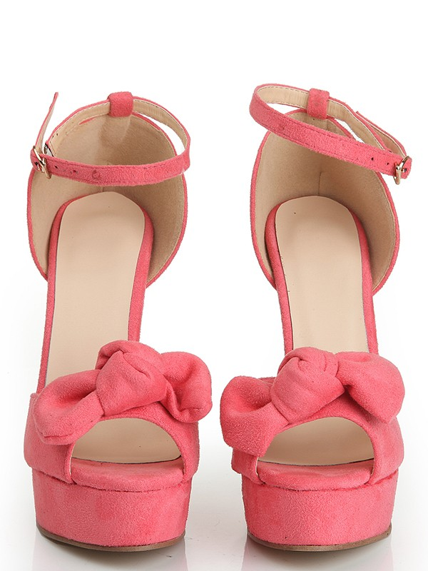 Fashion Women Peep Toe Suede Stiletto Heel Platform Knot Platforms Shoes