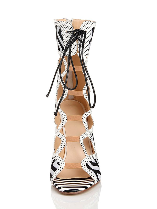 New Women Stiletto Heel Lace Up Peep Toe Flock Sandal Mid-Calf White Boots
