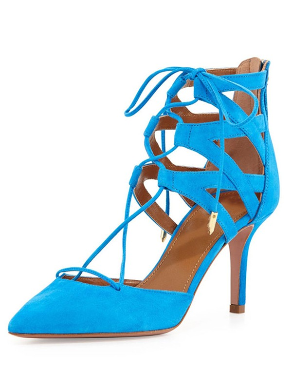 Hot Sale Women Suede Stiletto Heel Closed Toe Lace-up Sandals Shoes