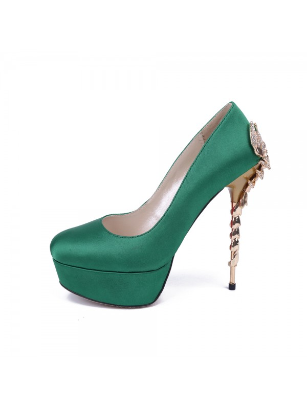 Fashion Women Stiletto Heel Platform Satin Closed Toe Platforms Shoes