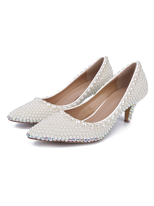 Classical Women Patent Leather Closed Toe Cone Heel Pearl White Wedding Shoes