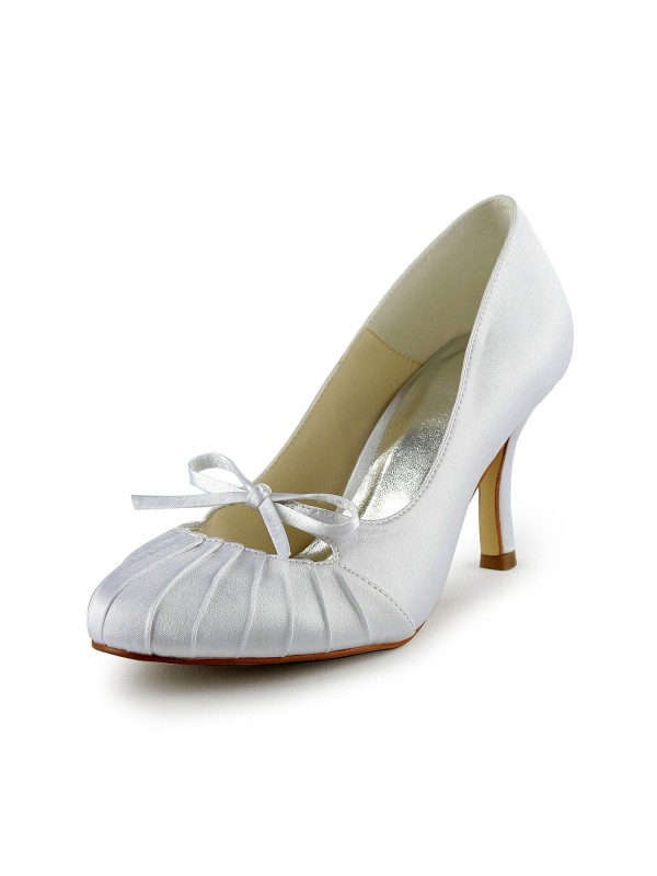 Exquisite Women Satin Stiletto Heel Closed Toe Pumps White Wedding Shoes