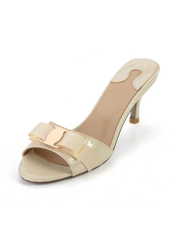 Hot Sale Women Peep Toe Patent Leather Cone Heel Sandals Shoes
