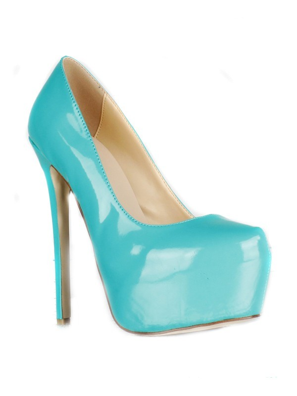 Fashion Women Patent Leather Stiletto Heel Closed Toe Platform High Heels
