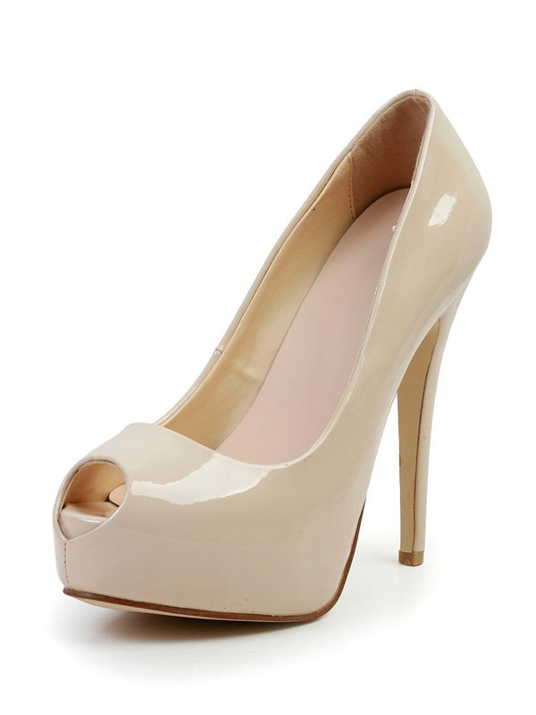 Fashion Women Stiletto Heel Patent Leather Peep Toe Platform High Heels