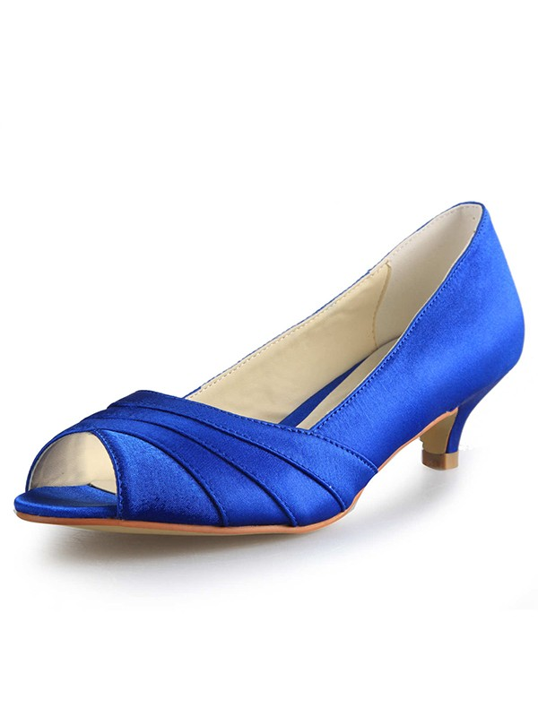 Stylish Women Low Heel Peep Toe Satin High Heels