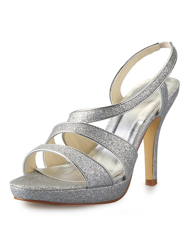 Hot Sale Women Cone Heel Platform Satin Peep Toe Sparkling Glitter Sandals Shoes