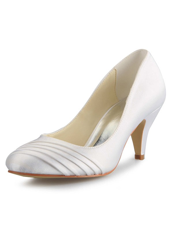 Classical Women Cone Heel Satin Closed Toe White Wedding Shoes