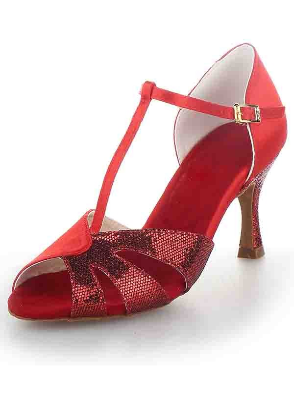 New Women T-Strap Peep Toe Stiletto Heel Satin Sparkling Glitter Dance Shoes