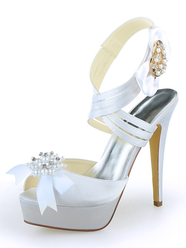 Classical Women Satin Peep Toe Platform Stiletto Heel Pearl White Wedding Shoes