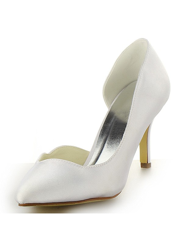 Classical Women Satin Closed Toe Stiletto Heel White Wedding Shoes