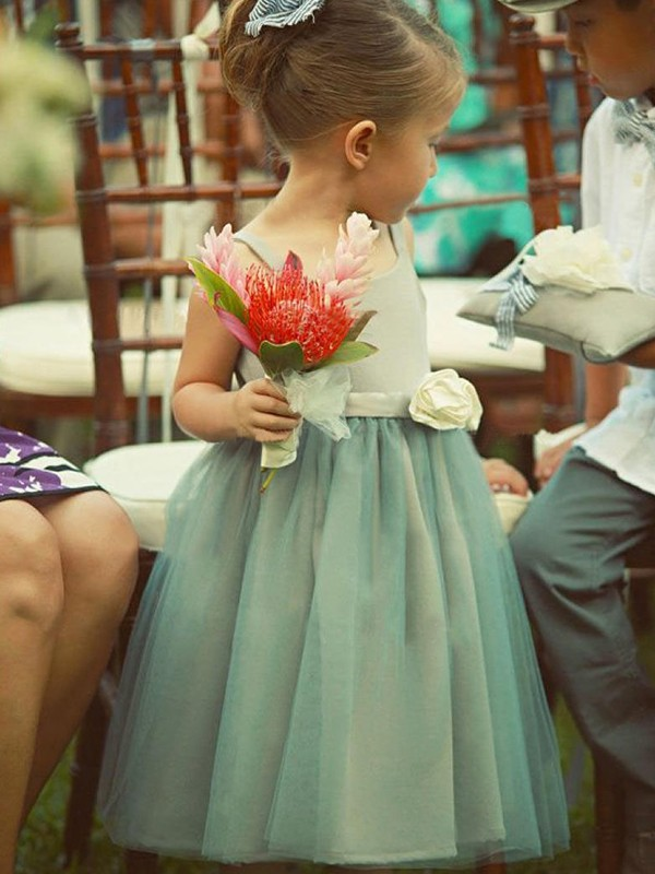 Glamorous A-Line Sleeveless Square Tea-Length Tulle Flower Girl Dress