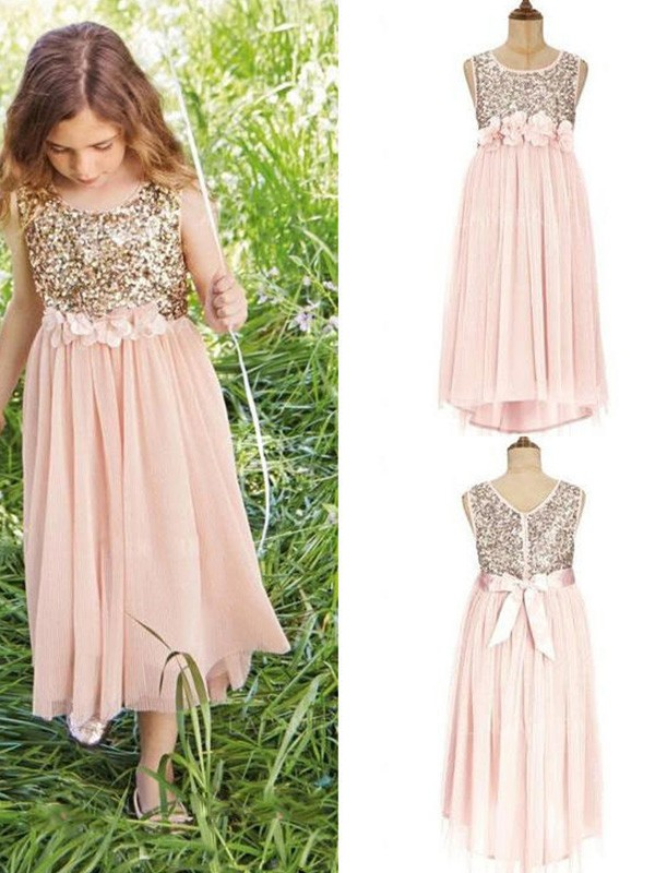 Perfect A-Line Sleeveless Scoop Tea-Length Sequin Chiffon Flower Girl Dress