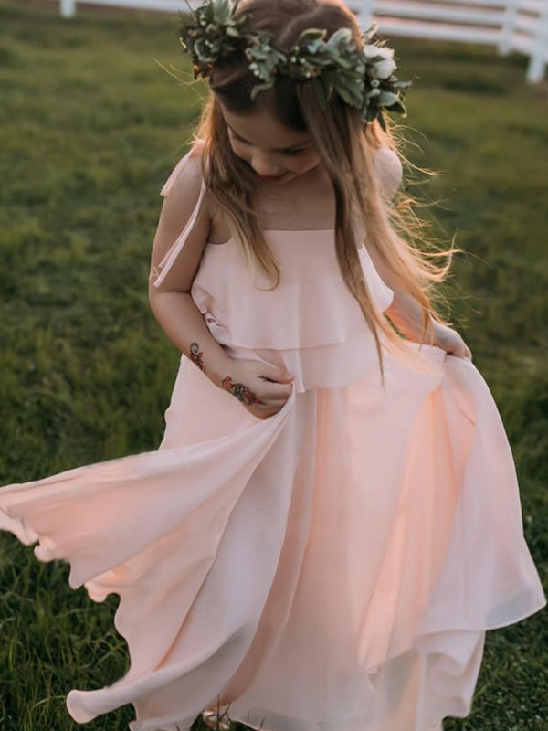 Glamorous Empire Sleeveless Spaghetti Straps Floor-Length Chiffon Flower Girl Dress