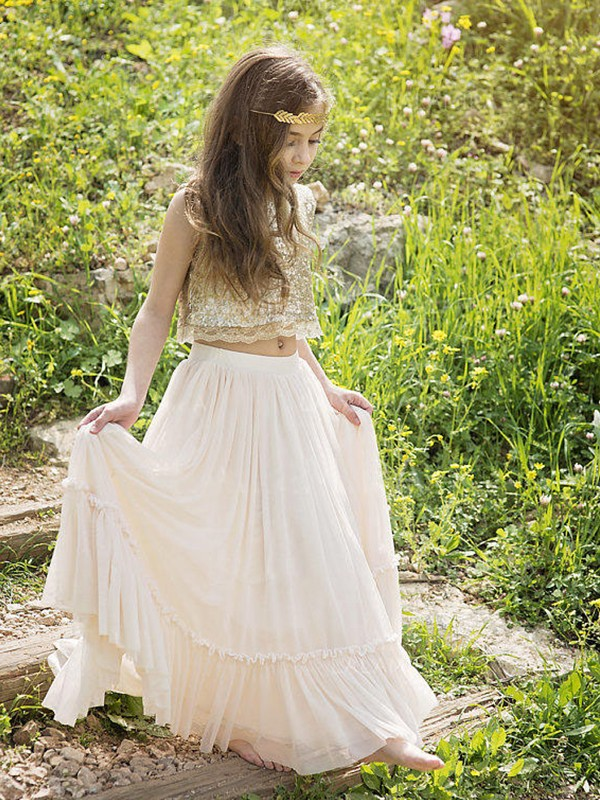 Beautiful A-Line Sleeveless Scoop Floor-Length Sequin Chiffon Flower Girl Dress