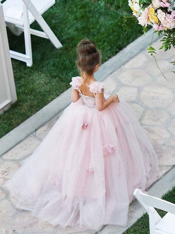 Stunning Ball Gown Sleeveless Spaghetti Straps Sweep/Brush Train Tulle Flower Girl Dress