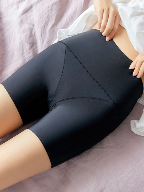 Women Nylon High Waist Elastic Soft Safety Pants Shorts