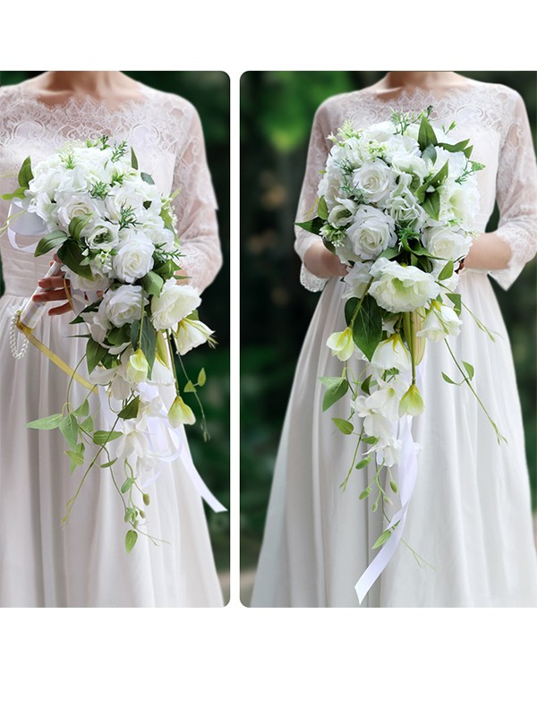 Hot Sale Pure Cascade Silk Flower Wedding Bouquets