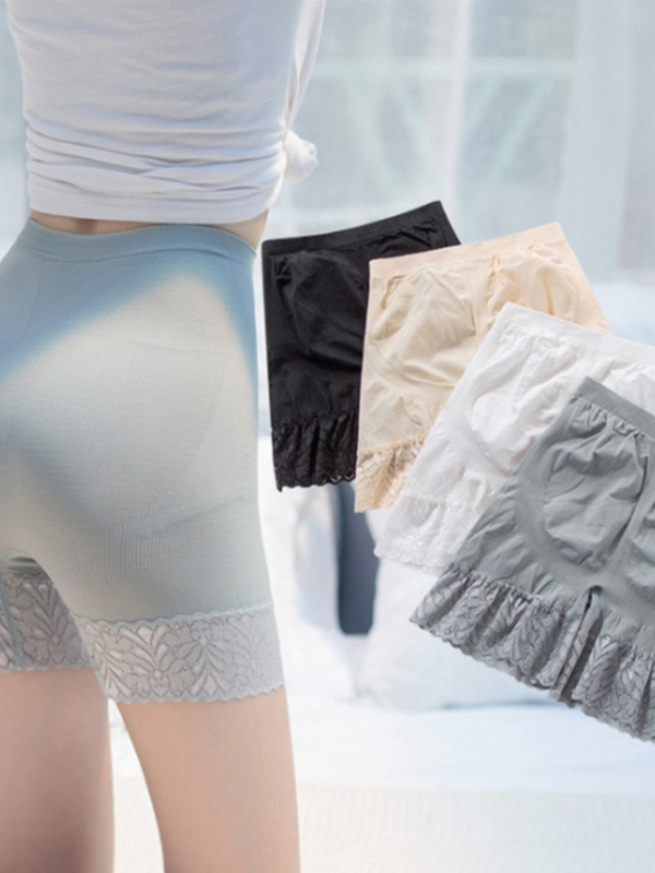 Women Nylon Lace Elastic Safety Pants Shorts