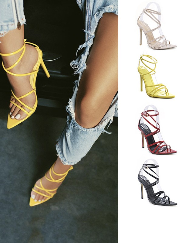 Cheap Women Patent Leather Stiletto Heel Peep Toe With Buckle Sandals