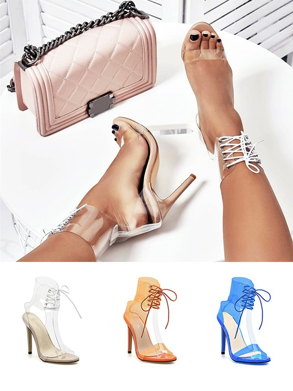 Cheap Women PU Leather Stiletto Heel Peep Toe With Lace Up Sandals