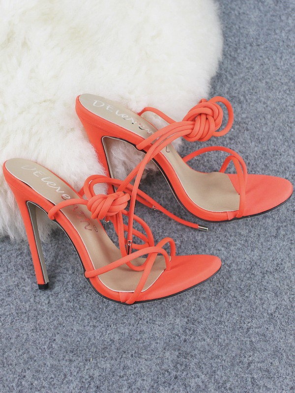 Cheap Women Microfiber Peep Toe Stiletto Heel With Lace Up Sandals