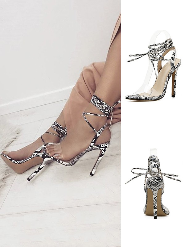 Cheap Women Stiletto Heel PU With Lace Up Peep Toe Sandals