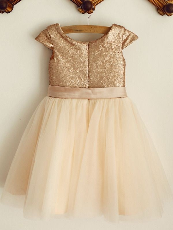 Discount A-Line Sequin Tulle Scoop Sleeveless Knee-Length Flower Girl Dress