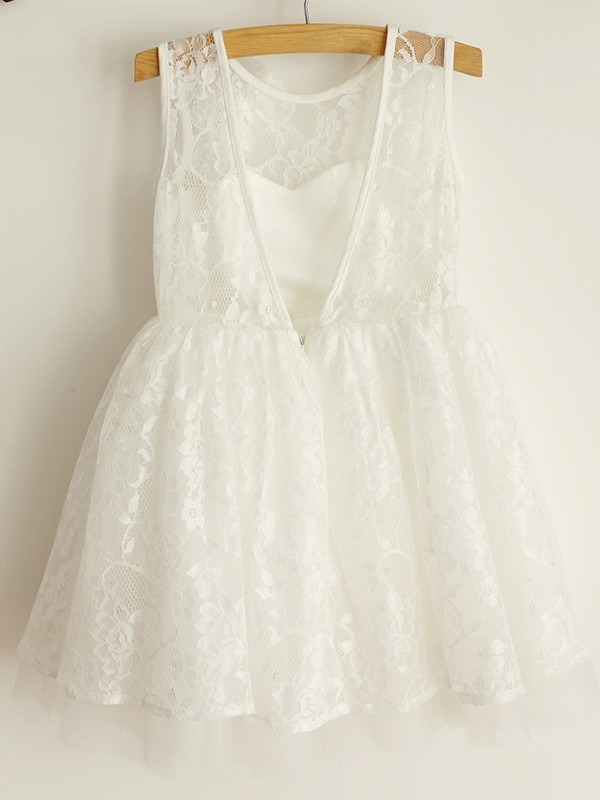 Beautiful A-Line Scoop Lace Sleeveless Tulle Knee-Length Flower Girl Dress
