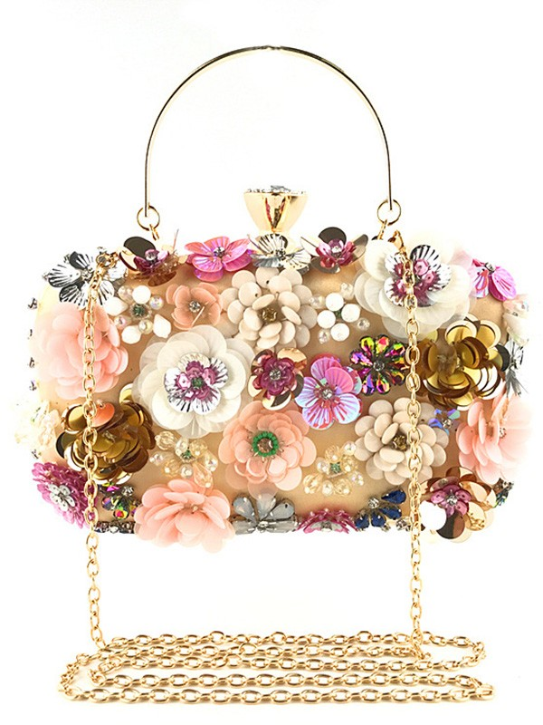 New Satin With Flowers Evening/Casual Bag