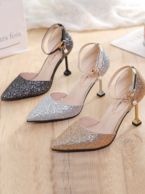 New Women Girls Stiletto Heel Closed Toe Sparkling Glitter High Heels