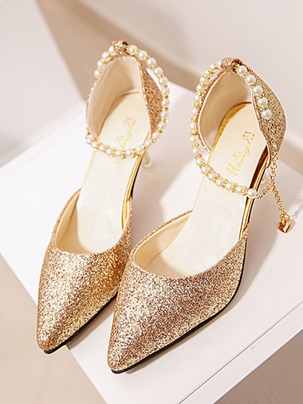 New Women Girls Pearl Stiletto Heel Closed Toe High Heels