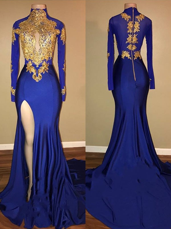 Stunning Mermaid High Neck Long Sleeves Sweep/Brush Train Spandex Dress
