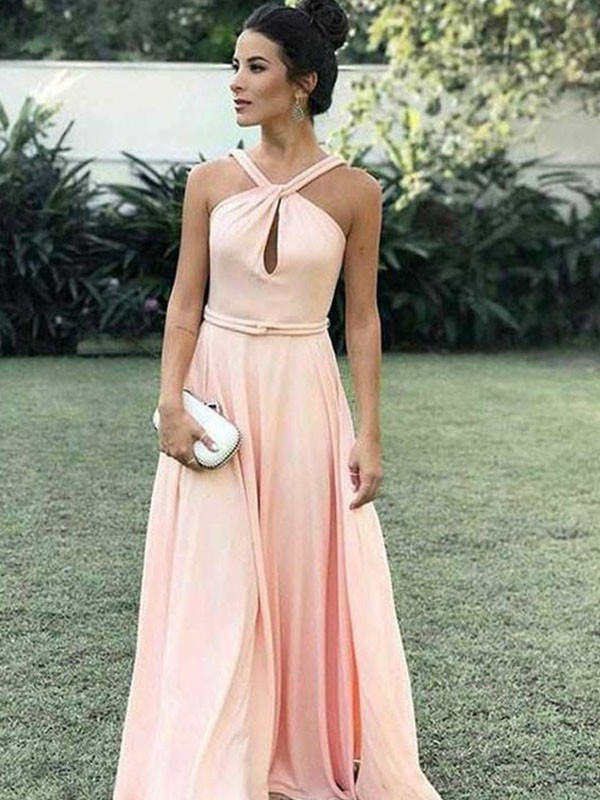 Chic A-Line Halter Sleeveless Floor-Length Chiffon Dress
