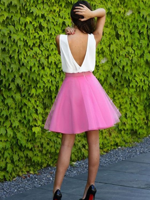 Perfect A-Line V-neck Sleeveless Short/Mini Tulle Dress