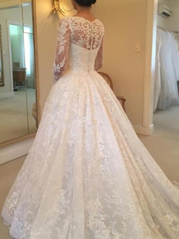 Stunning Ball Gown Long Sleeves Scoop Cathedral Train Lace Wedding Dress