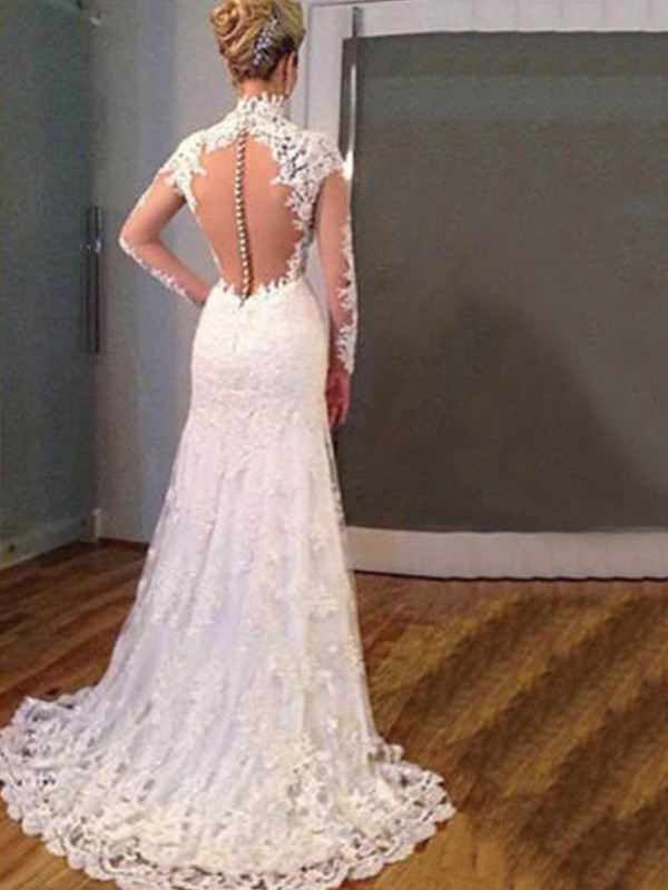 Charming Mermaid Long Sleeves V-neck Sweep/Brush Train Lace Wedding Dress