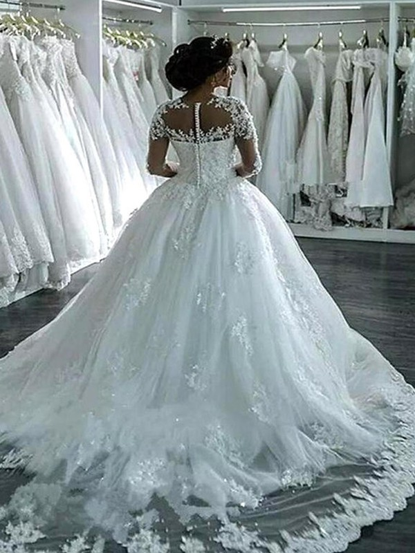 Cheap Ball Gown Tulle Scoop Long Sleeves Chapel Train Wedding Dress