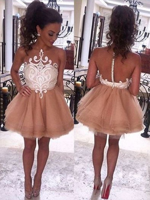 Nice A-Line Bateau Tulle Short Dress