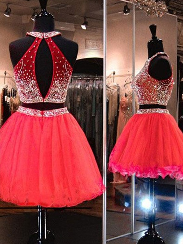 Glamorous A-Line Halter Tulle Short Two Piece Dress
