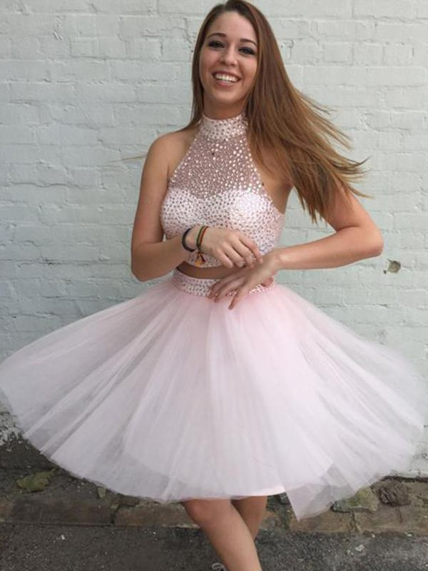 New A-Line Tulle High Neck Sleeveless Short Two Piece Dress