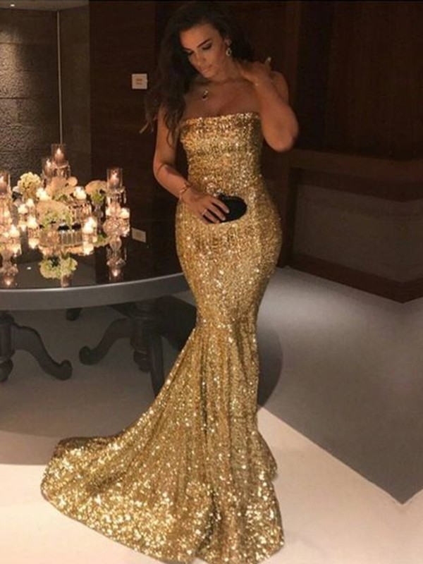 Amazing Mermaid Sleeveless Strapless Sweep/Brush Train Sequins Dress