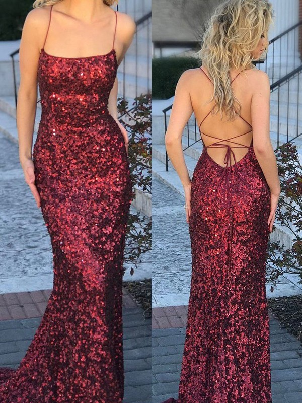 Beautiful Mermaid Sleeveless Spaghetti Straps Sweep/Brush Train Sequins Dress