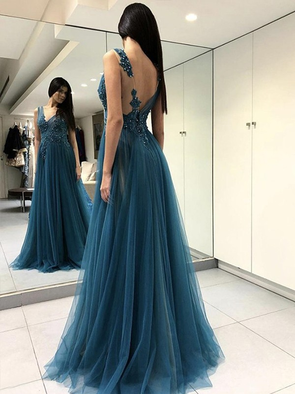 Perfect A-Line Sleeveless V-neck Floor-Length Tulle Dress