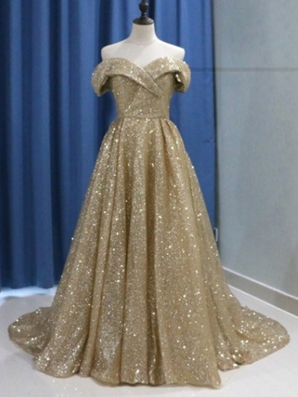 Chic Ball Gown Sleeveless Off-the-Shoulder Sweep/Brush Train Sequins Dress