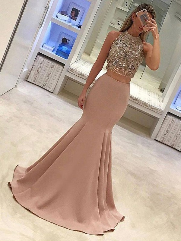 Fashion Mermaid Sleeveless High Neck Sweep/Brush Train Satin Two Piece Dress