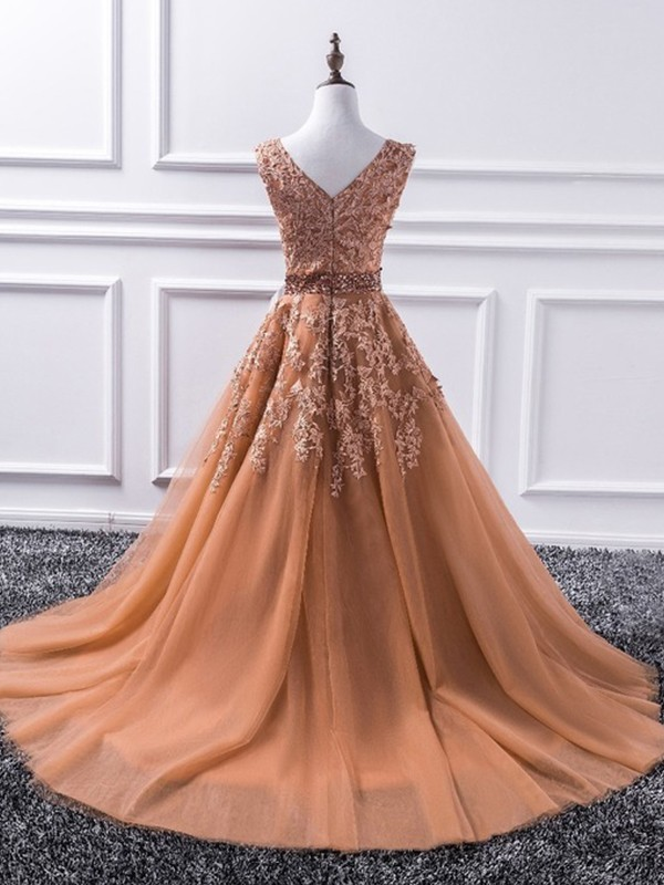 Charming A-Line Sleeveless V-neck Sweep/Brush Train Tulle Dress