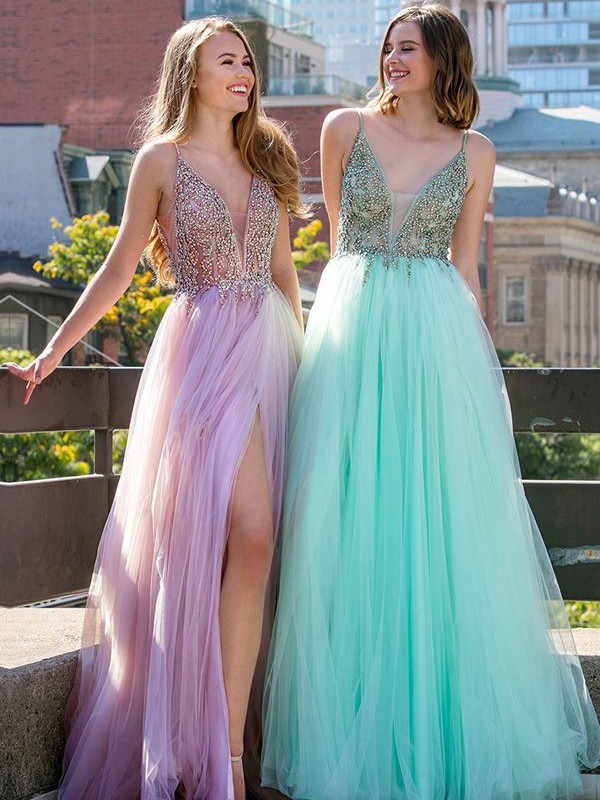 Amazing A-Line Sleeveless V-neck Floor-Length Tulle Dress